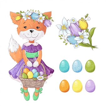 Cute cartoon fox with a bouquet of tulips and with colored easter eggs. vector illustration