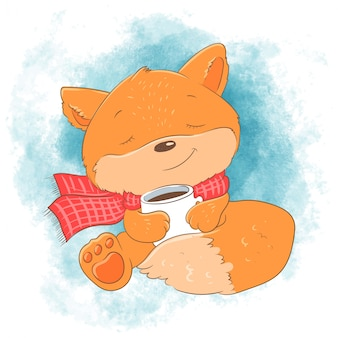 Cute cartoon fox with a cup. vector illustration