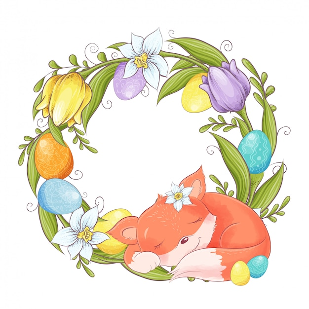 Cute cartoon fox with a wreath of easter multi-colored eggs and spring flowers