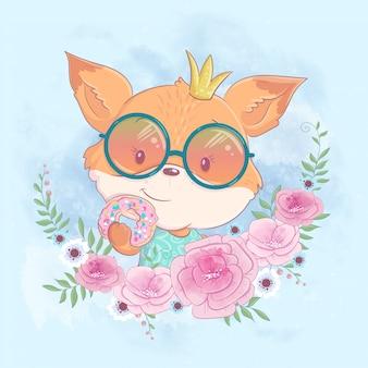 Cute cartoon fox in a wreath of pink flowers