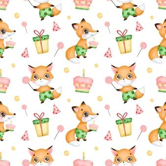 かわいい漫画キツネお誕生日おめでとうシームレスパターン。キツネ、キャンディー、ロリポップ、ケーキ、誕生日帽子、ギフト