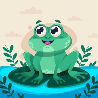 Милый мультфильм лягушка иллюстрация