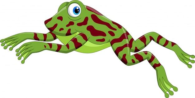 Cute cartoon frog jumping