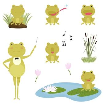 Милая мультяшная лягушка с разными выражениями лица и эмоциями