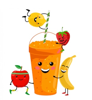 Cute cartoon fruit smoothies in cups. fresh summer juice. cute cartoon fruits with mug. drinking menu, healthy vegan lifestyle  illustration