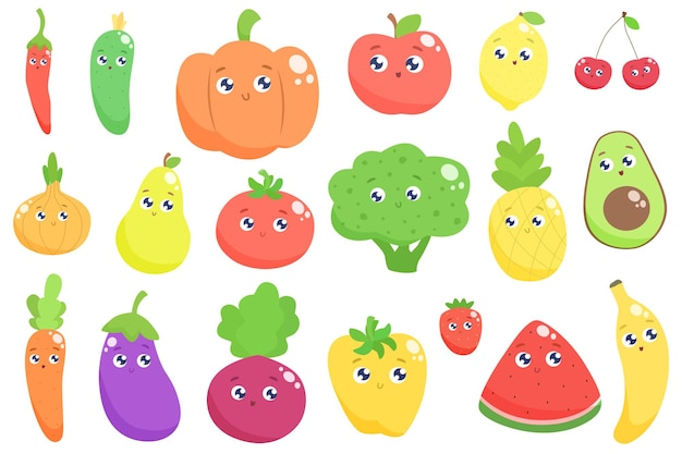 Милый мультфильм фрукты и овощи. плоский