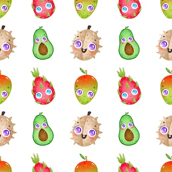 Cute cartoon fruits seamless pattern on a white background. durian, avocado, dragon fruit, mango