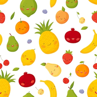 白い背景に変な顔でかわいい漫画果物。シームレスなパターン。
