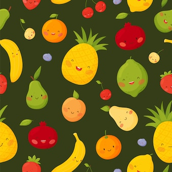Cute cartoon fruits with funny faceson a dark green background on a white background. seamless  pattern.