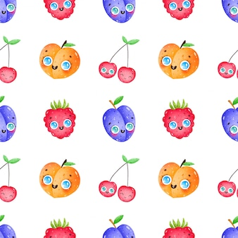 Cute cartoon funny fruits and berries seamless pattern on a white background. plum, peach, cherry, raspberry