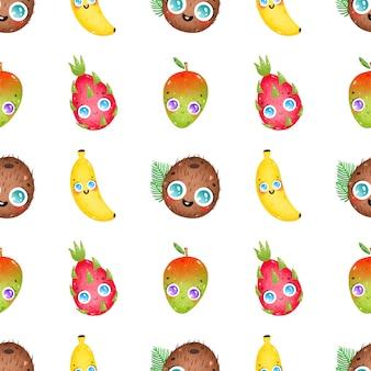 白い背景の上のかわいい漫画面白いトロピカルフルーツのシームレスなパターン。ココナッツ、バナナ、マンゴー、ドラゴンフルーツ