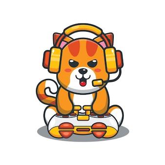 かわいい漫画ゲーマー猫ベクトルイラスト