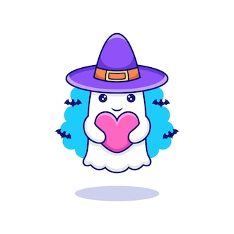 Cute cartoon ghost holding love