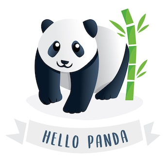 A cute cartoon giant panda