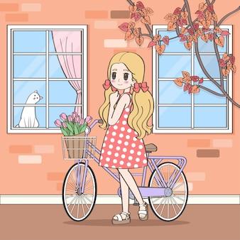 Милая девушка-мультфильм и велосипед