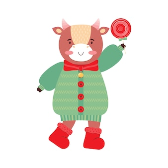 Cute cartoon girl baby bull with sweet lollipop. funny ox in clothes, scarf, boots, winter jacket, bow, bell. symbol 2021 new year. holiday card or banner for christmas, new year. illustration