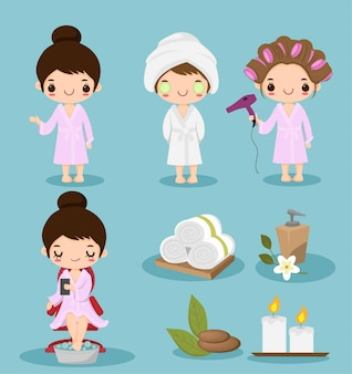 Cute cartoon girl  doing spa theraphy collection set