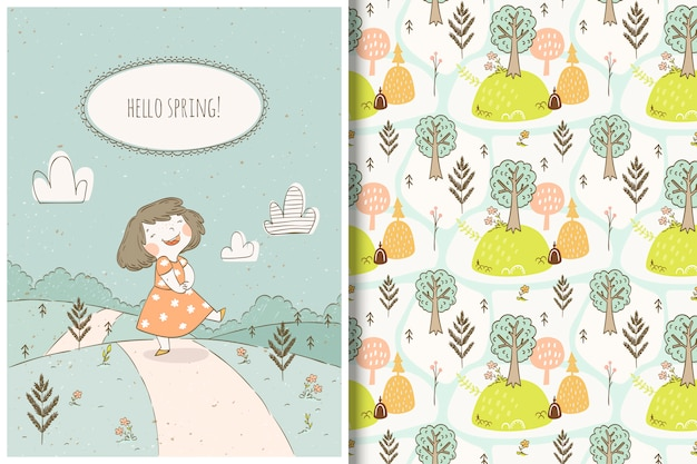 Cute cartoon girl and forest pattern