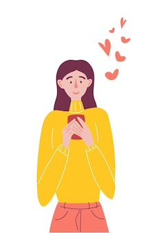 Cute cartoon girl is looking at her mobile phone and enjoys a lot of likes on social networks