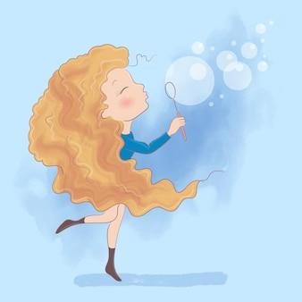 Милая девушка шаржа делает иллюстрацию мыльных пузырей