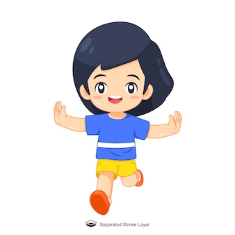Cute cartoon girl running