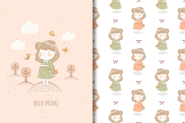 Cute cartoon girl and seamless pattern