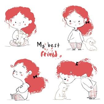 Cute cartoon girl ted hairs and with teddy bear