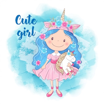 Cute cartoon girl and unicorn