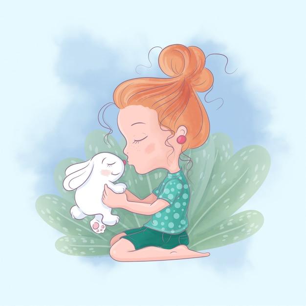 ウサギとかわいい漫画の女の子は親友にキスします。水彩イラスト