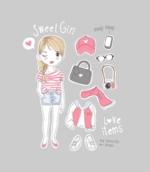 女の子のアイテムのイラストとかわいい漫画の女の子