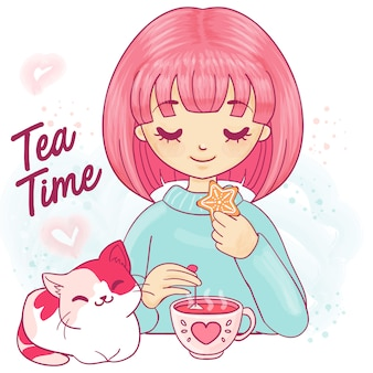 Cute cartoon girl with kitten and tea cup