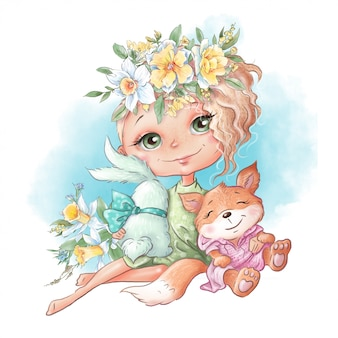 Cute cartoon girl with a rabbit and a chanterelle friends, with spring flowers