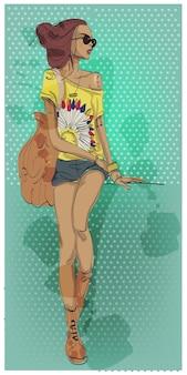 Милая мультипликационная девочка со смартфоном и очками