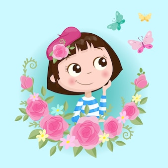 Cute cartoon girl in a wreath of roses flowers with butterflies illustration