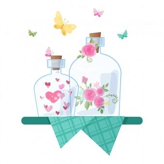 かわいい漫画のガラス瓶とバレンタインデーの心とバラのキャップ。図
