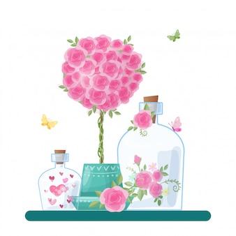 バレンタインデーのためのかわいい漫画ガラス瓶とハートとバラのキャップ。