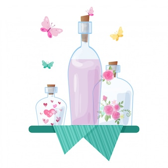 Cute cartoon glass jars and caps with hearts and roses for valentine's day.  illustration