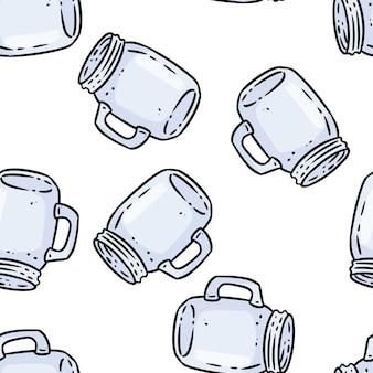 かわいい漫画のガラスの石工の瓶は、シームレスな境界線のパターンを落書きします。ベクトルの繰り返し可能な背景テクスチャタイル。ラッピングデザイン、壁紙のストックイラストの居心地の良いテンプレート