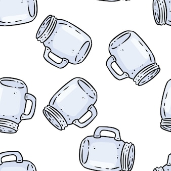 Cute cartoon glass mason jars doodles seamless border pattern. vector repeatable background texture tile. cozy template of stock illustration for wrapping design, wallpaper