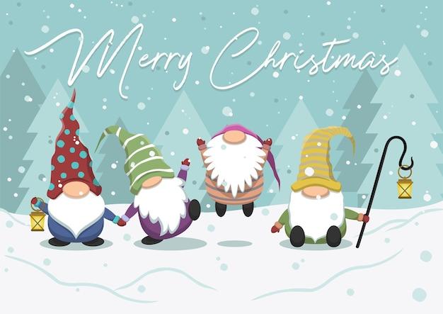 Симпатичные мультяшные гномы рождественские иллюстрации