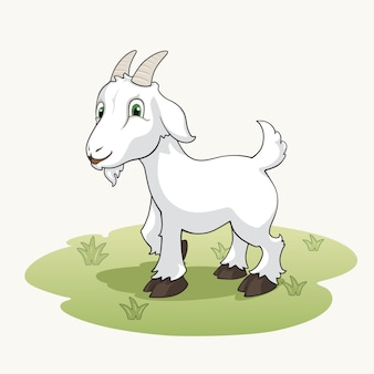 Cute cartoon goat on the grass
