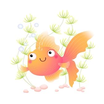Cute cartoon goldfish in an aquarium.