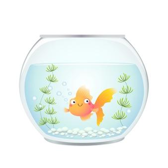 Cute cartoon goldfish in a fishbowl.