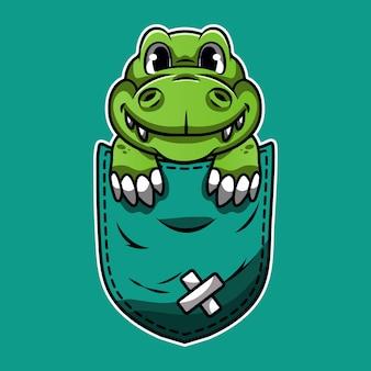 ポケットにかわいい漫画緑のワニ