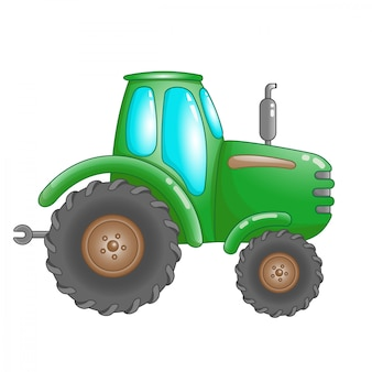 Cute cartoon green farm tractor