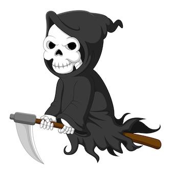 Cute cartoon grim reaper riding scythe