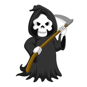 Cute cartoon grim reaper with scythe