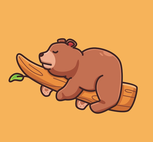 Cute cartoon grizzly bear sleeping on branch tree vector illustration icon isolated animal flat