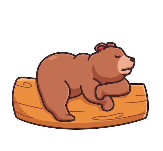 Cute cartoon grizzly bear sleeping on branch tree vector illustration isolated animal flat