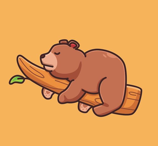 귀여운 만화 회색 곰 분기 트리 벡터 일러스트 레이 션 아이콘 절연 동물 평면에 자